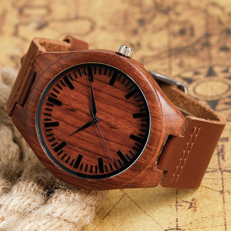 2017 Natrual Drewniany zegarek na rękę Analogowy zegar męski - Męskie zegarki - Zdjęcie 3