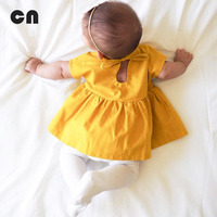 2017 Summer New Baby Girl Short Sleeve Dress Cotton Yellow 0 2 Years Baby Dress A