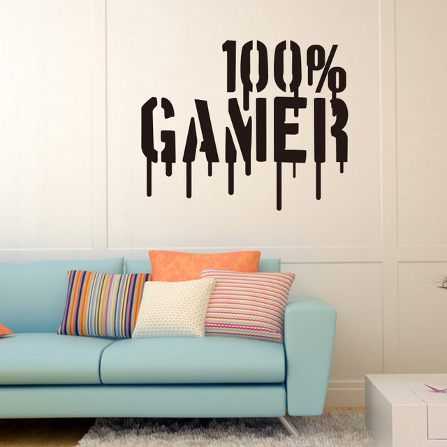 gamer vinyle mur art autocollant papier peint mural stickers muraux pour gar ons chambre enfants. Black Bedroom Furniture Sets. Home Design Ideas