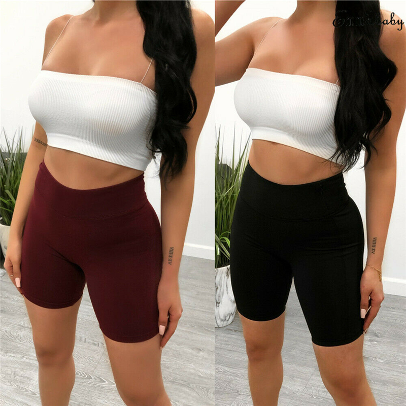 Sexy Women Shorts Summer Solid Color High Waist Skinny Stretch Biker Shorts Fitness Short Trousers Elastic Waist Ladies Trousers