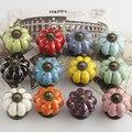10 Unidades Multi Color de Calabaza de Cerámica de Porcelana Armario Puerta de Gabinete Tira de Cajón Perillas Muebles Perilla Tirón de Dibujos Animados para niños