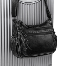 Washable Leather Baby Bag Casual Travelling Crossbody Flap Multi-pocket High-capacity Messenger shoulder
