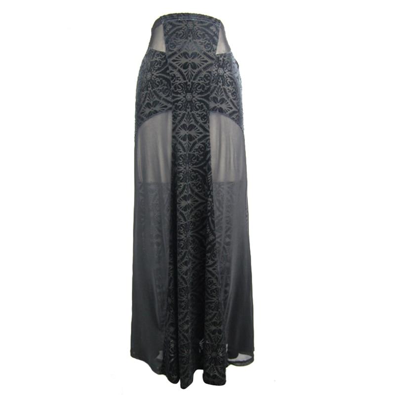 Crayon Imprimé Moulante Femmes Jupes Soie Haute Parti Gothique Longues Mousseline Taille Maxi Noir De RxUnwf8Et