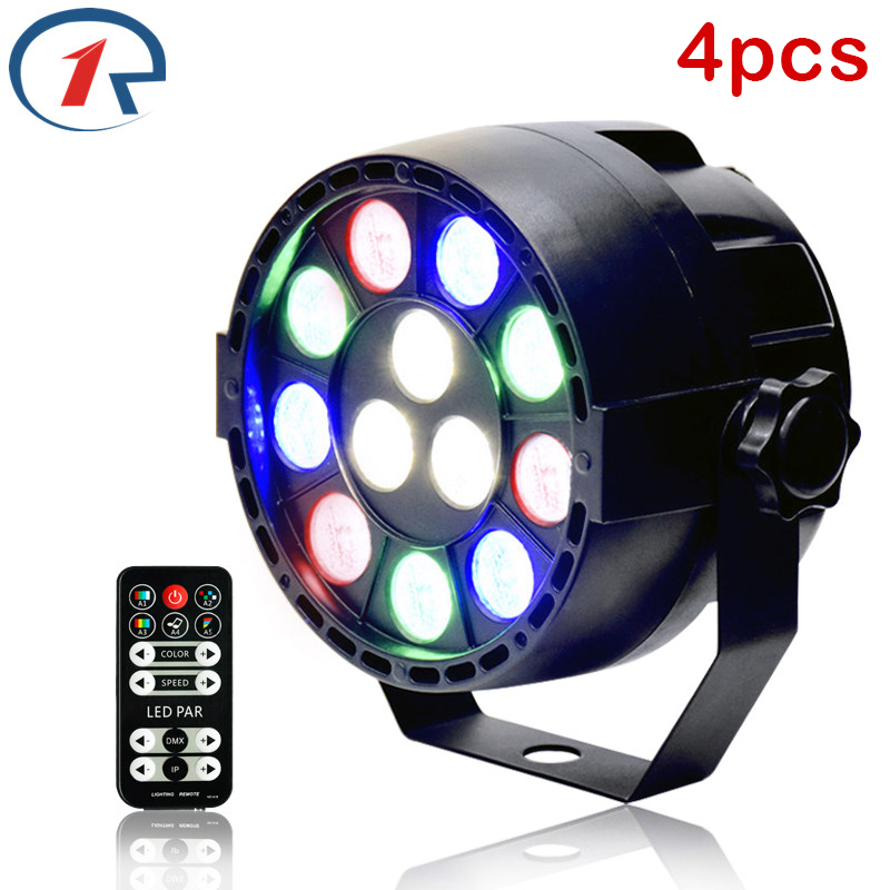 ZjRight LED light 4pcs/lot 15W IR Remote LED Par light DMX512 Sound Control ktv bar stage party lighting DJ Xmas ceiling lights zjright 90w rgb fullcolor 54 led par light dmx512 concert decor lights sound control pro stage party dj holiday ktv disco light