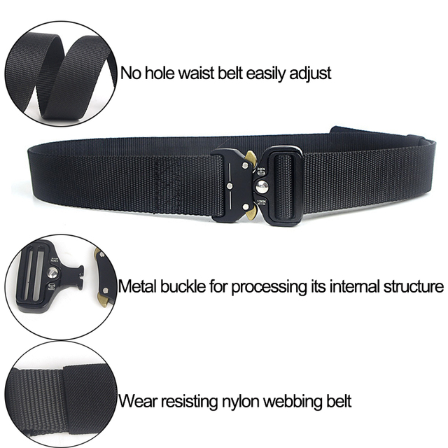Tactical Belt Men Adjustable Heavy Duty Military Tactical Waist Belts with Metal Buckle Nylon Belt Hunting Accessories 3