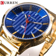 CURREN Blue Sky Luxury Golden Stainless Steel Design Men Business Military Quartz Mens Wrist Watches Top Brand Luxury Male Clock jaragar blue sky series elegant design genuine leather strap male wrist watch mens watches top brand luxury clock men automatic