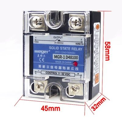 1PCS Solid State Relay 100A 3 32VDC Input 24V 480VAC Output Electronic Components MGR 1 D48100