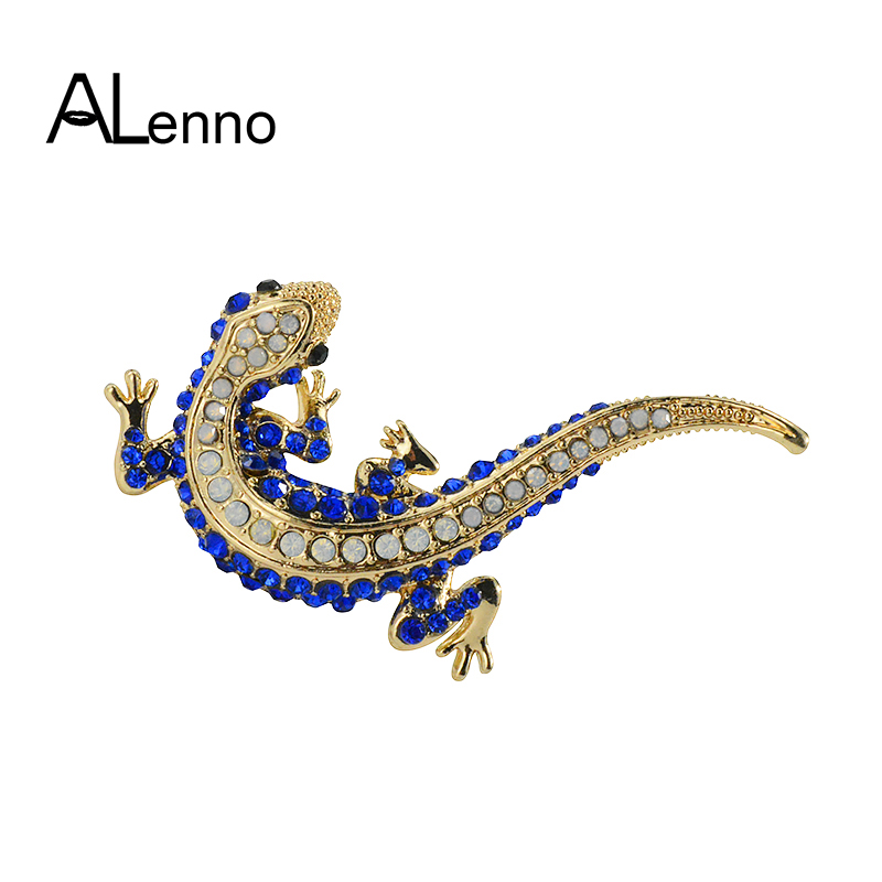 e16fd289f7 US $1.47 21% OFF|Blue Crystal Rhinestone Lizard Gecko Pins And Brooches For  Women Female Small Animal Brooch For A Scarf Coat Suit Jewelry Gifts-in ...