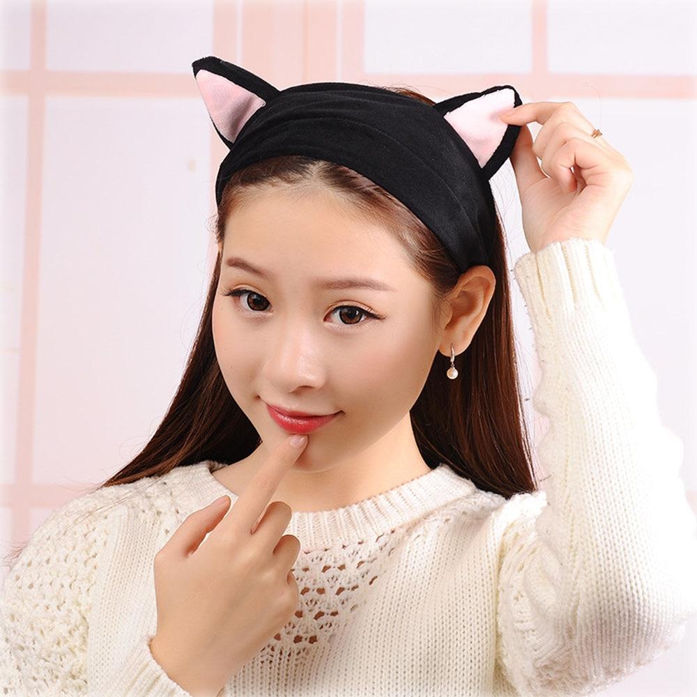 Cute Korean Velvet Cat Ear Headband For Women Adult Girl Hair Band Hair Accessories Makeup Tools Бюстгальтер