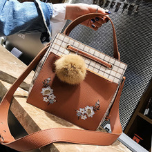 ETAILL Floral Embroidered Women Messenger Bags Vintage Pu Leather Canvas Plaid Shoulder Bag Female Fur Ball Wide Strap Handbags