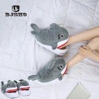 CBJSHO Unisex Winter Animal Furry Slipper Warm Soft Bottom Home Indoor Men Women Shark Shape Slippers