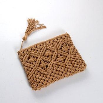 Woman high quality beach bag straw clutch women lady day tassels summer envelope bag