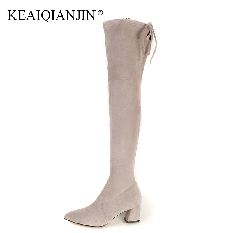 KEAIQIANJIN Woman Winter Thigh High Boots Black Fashion Pointed Toe Chelsea Boots Genuine Leather Zipper Over The Knee Boots keaiqianjin woman pointed toe ankle boots black autumn winter genuine leather shoes fashion metal decoration chelsea boots 2017