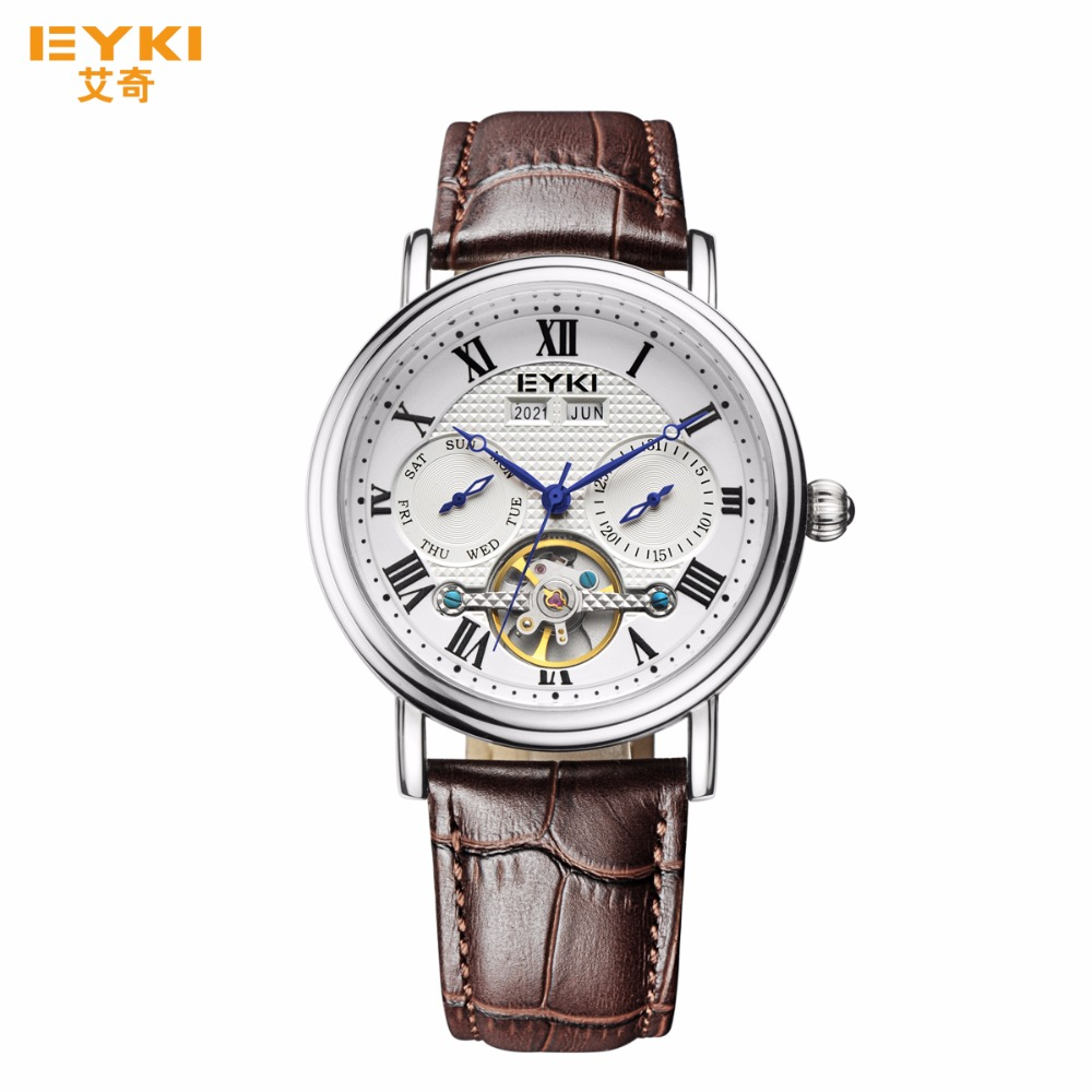 Vintage Automatic Mechanical Men Watches 2017 Luxury Brand Casual Leather Roman Numeral Hollow Dial Male Clock relogio masculino forsining gold hollow automatic mechanical watches men luxury brand leather strap casual vintage skeleton watch clock relogio