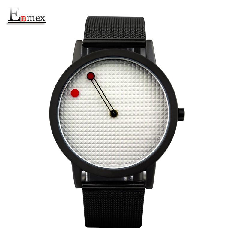 Prix pour 2016 hommes cadeau enmex bref acier bande creative dessins géométriques flottant pointeur 3d dail avec jeune de mode montres à quartz