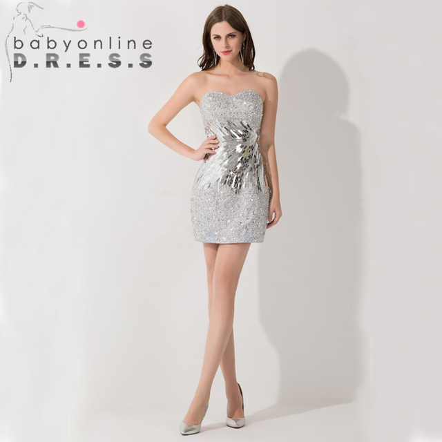 5c4c115f6143 Free shipping 2013 Sexy Short Sequins Silver cocktail dresses Christmas  party New year dresses