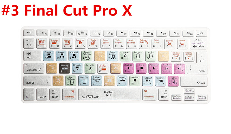 US EU Universal Version Silicone Keyboard Cover For Apple Final Cut Pro X Functional For Macbook Air Pro Retina 13 15 17