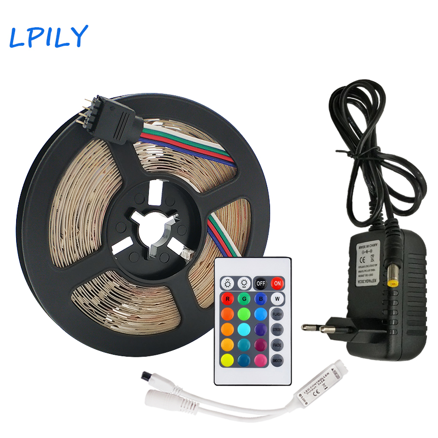 LPILY RGB LED Strip Light 2835 SMD 5M/10M Waterproof LED Tape Ribbon Flexible IR Remote Controller DC 12V Power Adapter
