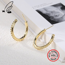 925 Sterling Silver Round Bead Exaggeration Big Hoop Earrings Gold Creative Texture Elegant Earing F