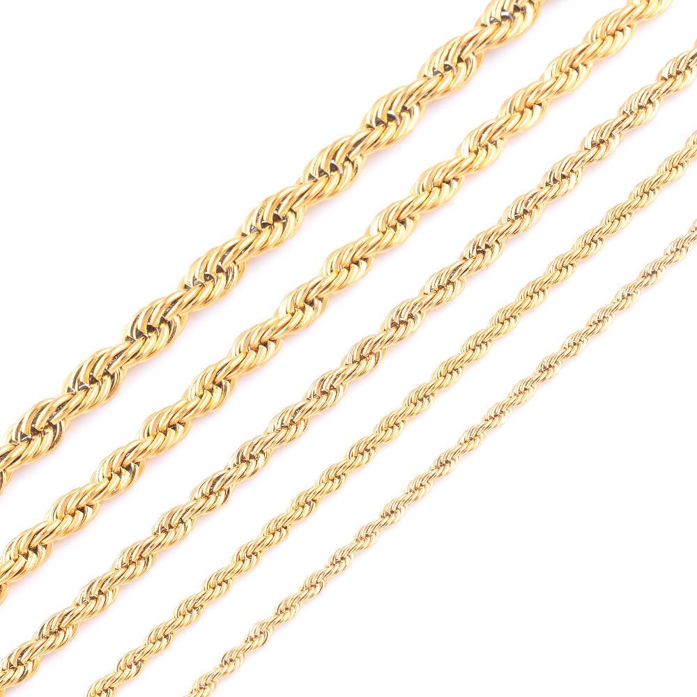 Высокое качество золотое покрытие Веревка Цепи Нержавеющаясталь Цепочки и ожерелья для Для женщин Для мужчин золото Мода Веревка Сеть ювелирных подарок