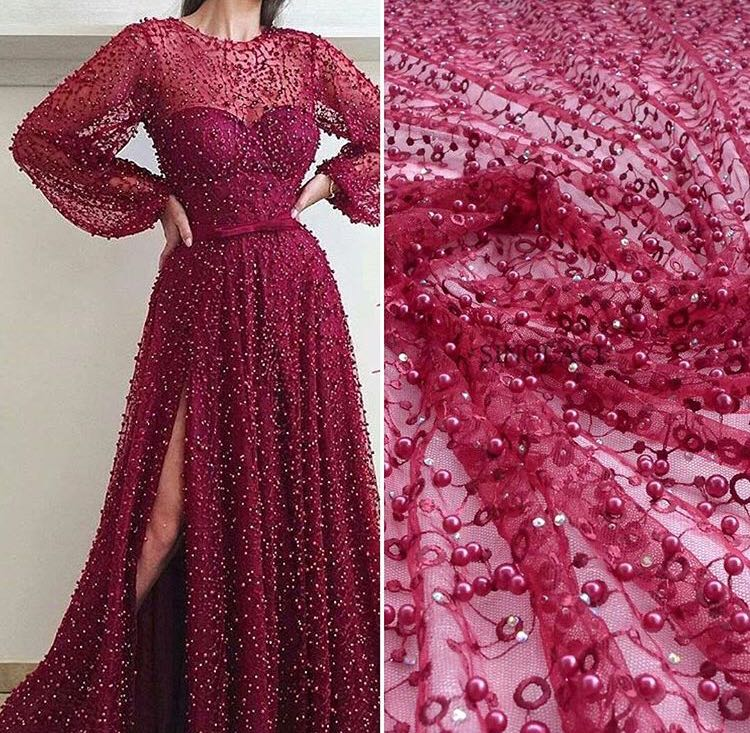 Stock high quality ZZ01# Wine red pearls embroidery luxury mesh french lace fabric for bridal wedding gown dress/sawing