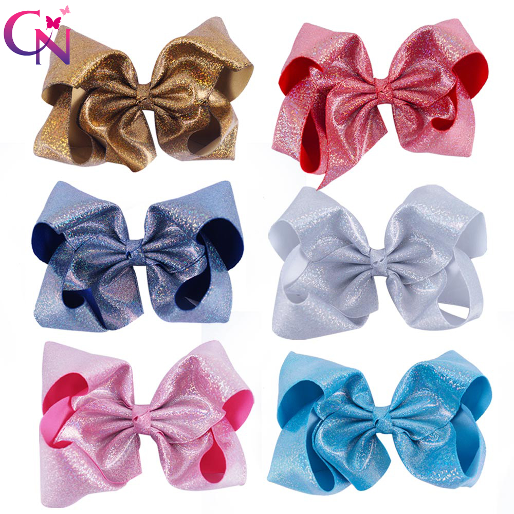 6 Pieces/lot 7 Glitter Hair Bows With Clips For Kids Girl Princess Handmade Large Leather Bling Bows Hairgrips Hair Accessories glasgow k girl in pieces