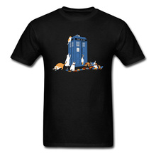 Tops Tees Time Travel T Shirts Men T-shirt Cat Lover Tardis Print Tshirt Thanksgiving Day Funky Cotton Fabric Clothes Dr. Who свитшот print bar tardis time