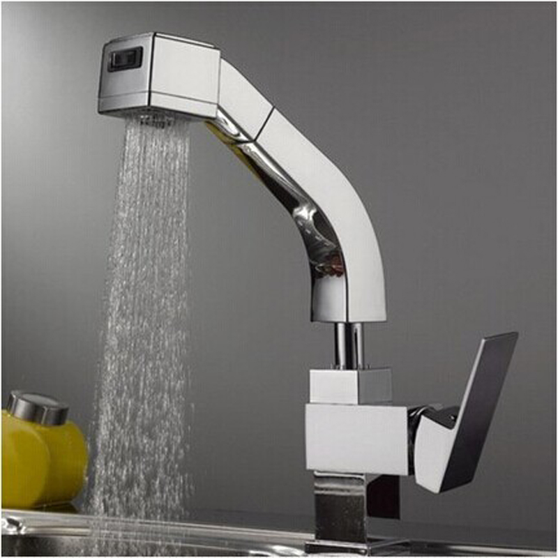 Superfaucet Spring Polished Chrome Brass Kitchen Faucet Pull Out Single Handle Sink Mixer Tap HG-1160DC chrome kitchen sink faucet solid brass spring two spouts deck mount kitchen mixer tap