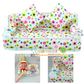 Funny toys for baby girls play house toys Mini Dollhouse Furniture Flower soft sofa with cushions doll house for barbie doll