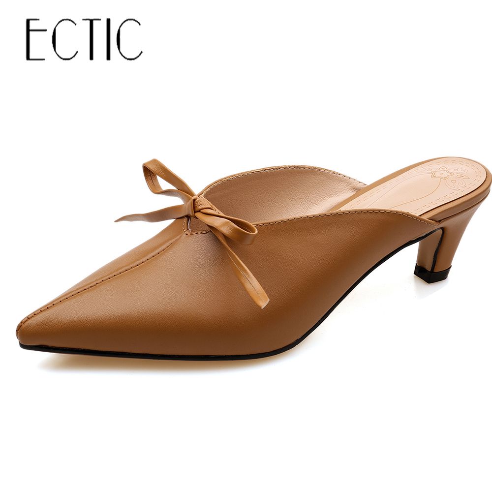 ECTIC Women Slippers Mules Shoes Genuine leather 2018 Summer Mid Heel Outside Casual Slides Pointed Toe Femal Shoes EU 34-42