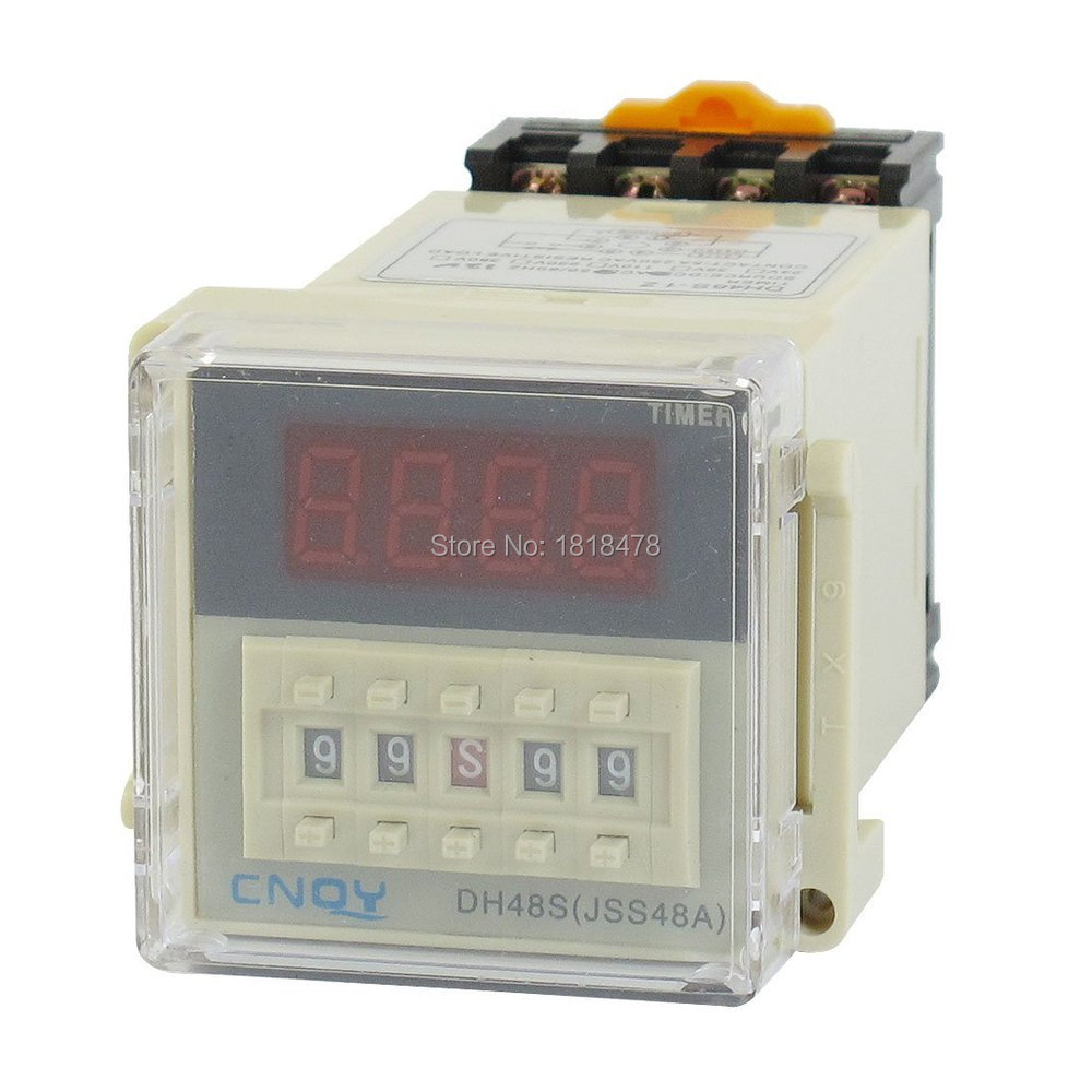 DH48S-1Z Power on Time Delay Relay 8-Pin SPST 0.01S-99H99M AC/DC12V w Socket hhs6a correct time countdown intelligence number show time relay bring power failure memory ac220v