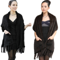 Women Winter Real Mink Fur  Knit Scarf Wrap Women Warmer Fashion Natural Fur Shawl Cape Wedding Party