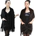 Women Winter Real Mink Fur  Knit Scarf Wrap Women Warmer Fashion Natural Fur Shawl Cape Wedding Party
