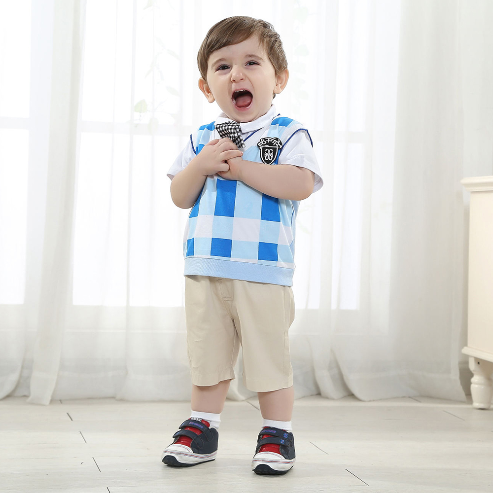 11.11 baby Birthday official store Clothing Boy Genltman 3 Pieces Newborn Thanksgiving Boys Wedding Suit Bule Plaid Vest Suit