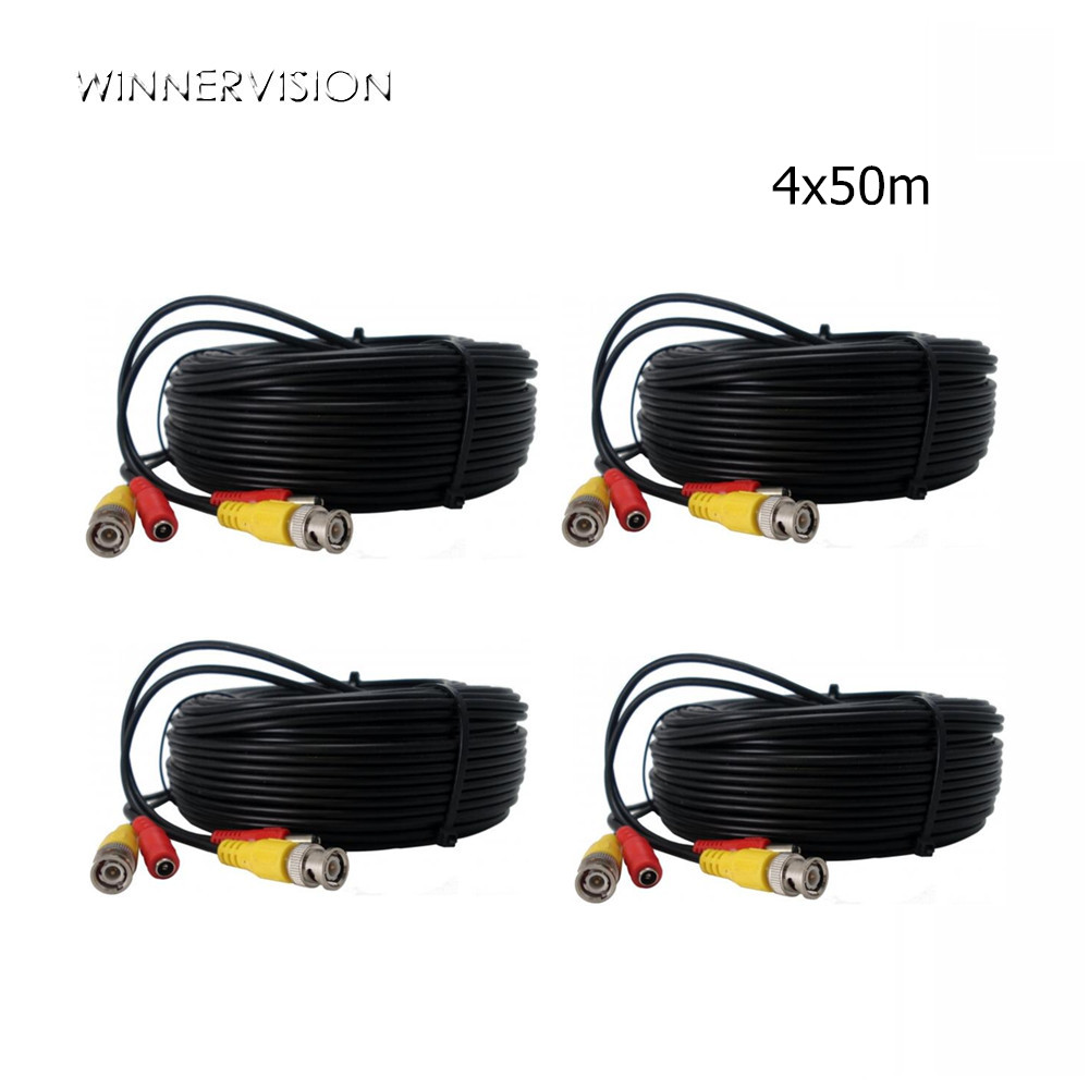 DHL Freeshiping 4PCS Black Color 50M Video+Power Cable Plug With BNC+DC Connector Extensionn Cable Wire for CCTV Security Camera 50pcs 2 pole bnc dc male plug for color monitor video cctv power plug terminals