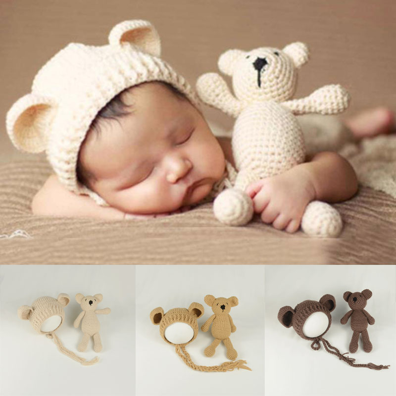 Newborn baby Girl Boy Photography Props bear hat and doll Cute Clothes carters Hand Made  Crochet Costume Photo Shoot ClothesNewborn baby Girl Boy Photography Props bear hat and doll Cute Clothes carters Hand Made  Crochet Costume Photo Shoot Clothes
