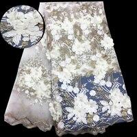 (5 m/szt) piękne appliqued tiul koronki tkaniny Afryki z koralikami białe złoto Francuski koronki tkaniny netto na wesele FYD45
