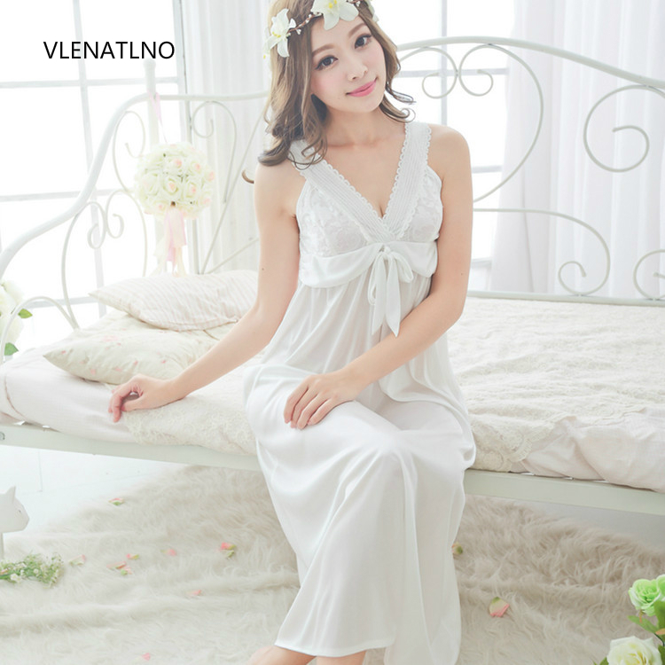 Free Shipping Women Lace Sexy Nightgown Slim Bride