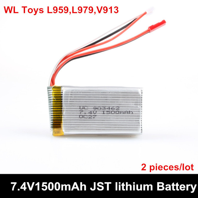 2 pieces/lot 7.4V 1500mAh JST Plug 2S 30C Lipo Battery For WLtoysV913 L959 L979 For 4WD RC Hobby Buggy car Spare Parts Accessory