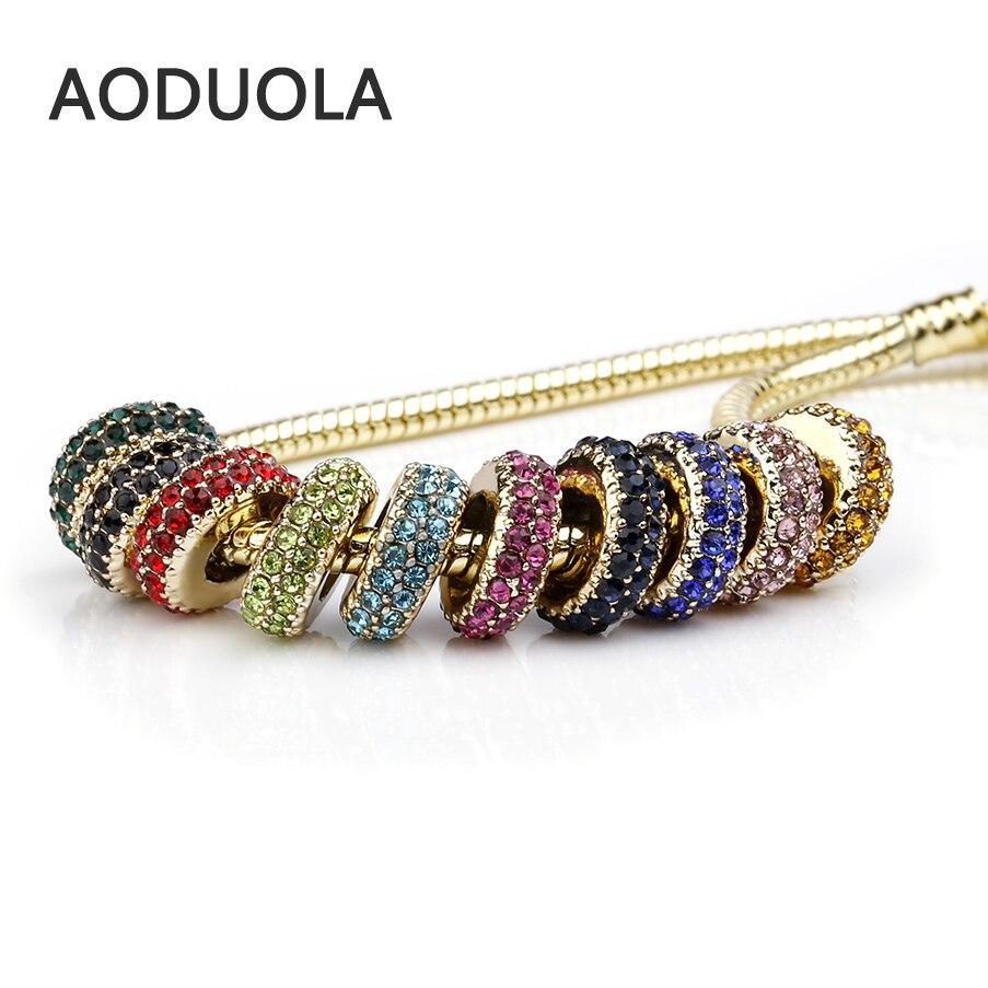 Stainless Steel Gold European Beads With Rhinestones Charm For European Bracelet