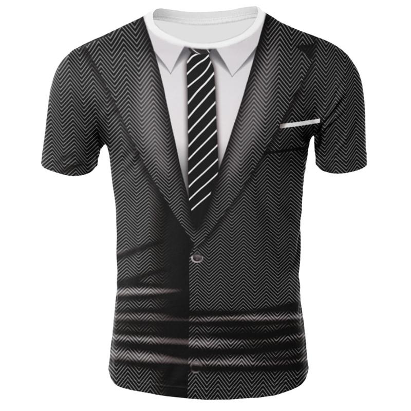2019Hot Sale 3D T Shirt Men Fake Suit Uniform Print Short Sleeve Compression Shirt Skin Tight O-Neck Casual Funny T Shirts Tops