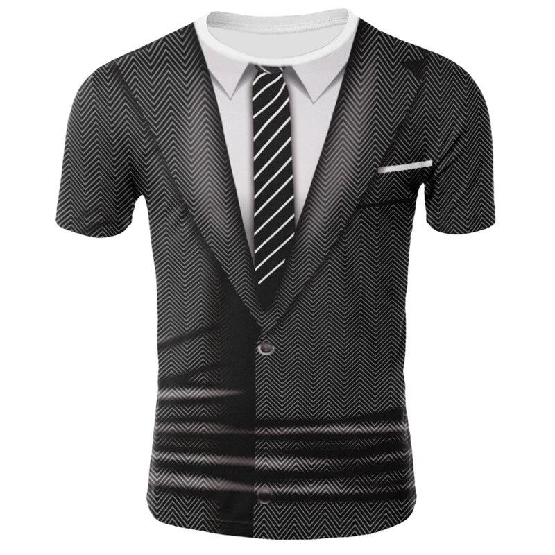 2019Hot Venda 3D T Shirt Homens Falso Terno Impressão Uniforme Camisa De Compressão Da Pele Apertado O Pescoço de Manga Curta Casuais T Engraçado camisas Tops