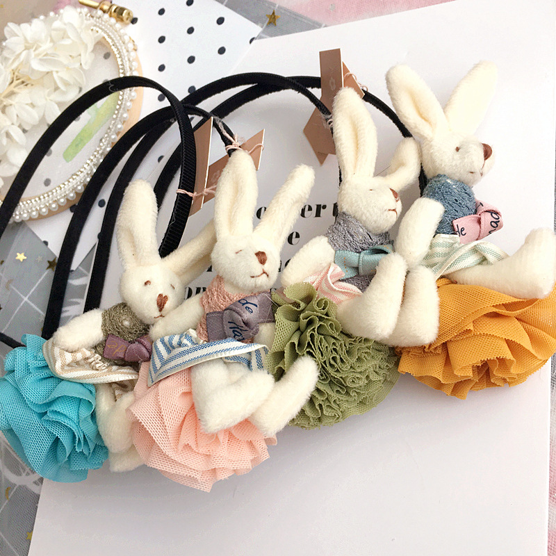 Korea Hair Accessories lovely Rabbit Lace Flower Crown Hair Band For Girls Cotton Headband Hair Bow Princess 4