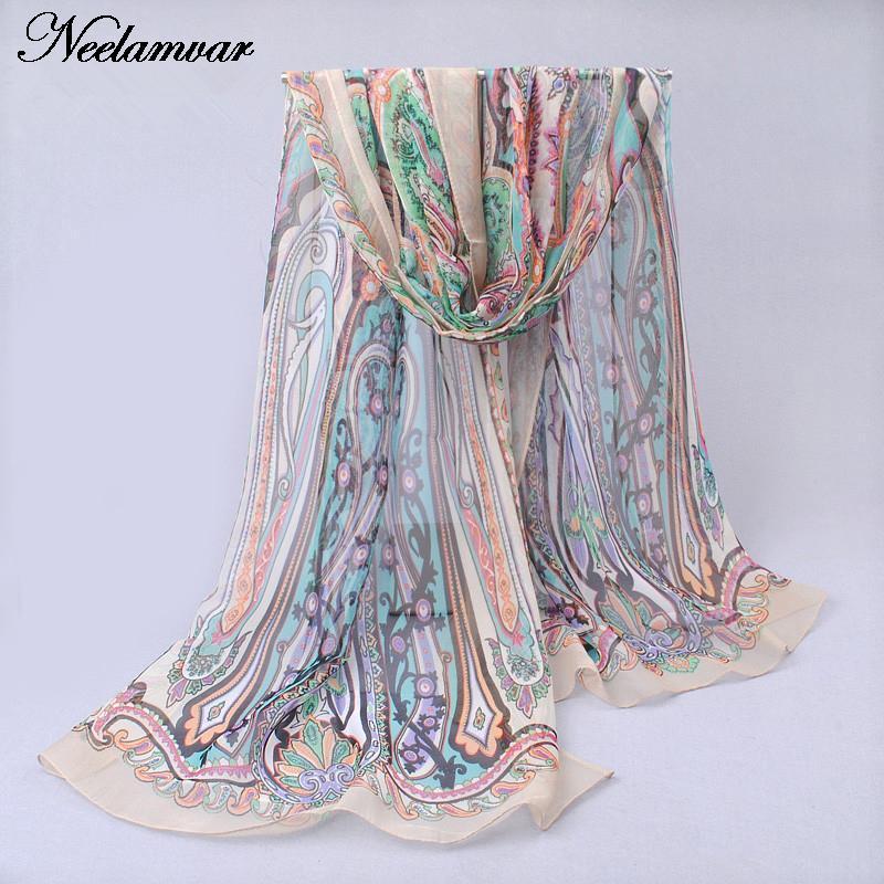 novi svileni šal iz šafonke Georgette ženske Bohemia dolge šal - Oblačilni dodatki - Fotografija 6