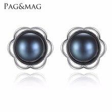 PAG y MAG Nuevo Aretes de Moda 925 Joyas de Plata Para Las Mujeres de 8mm a 8.5mm Naturales de agua dulce Negro Perla