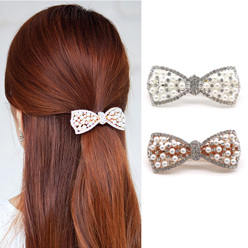 Pc Korean Lady Girls Headwear Crystal Rhinestone Bow Hair Clip Hairclip Beauty