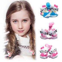 1-5pairs Hello Kitty Hot Cartoon Hairpins Barrettes Kids Headwear Multicolor Hair Ropes Hair Travel Accessories(China)