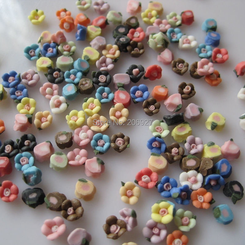 #85 30pcs Cute Mix Ceramic Flower Shapes Nail Resin Decoration Outlooking rovertime rovertime rtm 85