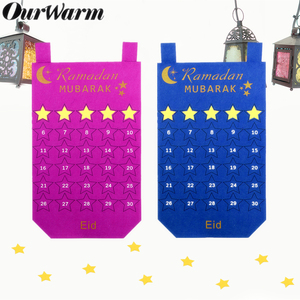 Image 2 - OurWarm EID Mubarak Calendario de fieltro DIY, pegatina de estrella dorada para colgar en la pared del hogar, Balram musulmán, fiesta de Festival de Ramadán Kareem