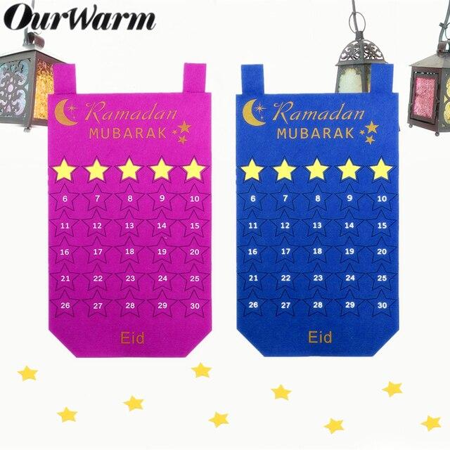 OurWarm EID Mubarak Decoration DIY Felt Calendar Gold Star Sticker Home Wall Hanging Muslim Balram Ramadan Kareem Festival Party